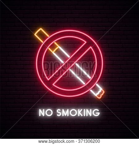 No Smoking Neon Sign. Fuming Cigarette With Smoke In Red Circle. Neon Signboard With Prohibition Of