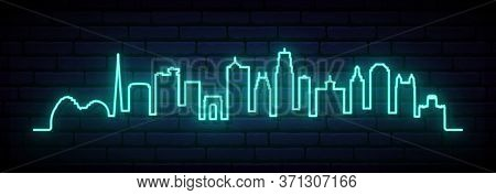 Blue Neon Skyline Of Kansas City City. Bright Kansas City Long Banner. Vector Illustration.