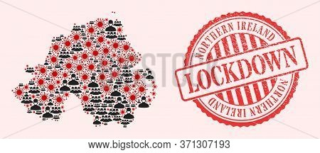 Vector Mosaic Northern Ireland Map Of Covid-2019 Virus, Masked Men And Red Grunge Lockdown Seal Stam