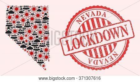 Vector Mosaic Nevada State Map Of Flu Virus, Masked People And Red Grunge Lockdown Seal. Virus Eleme