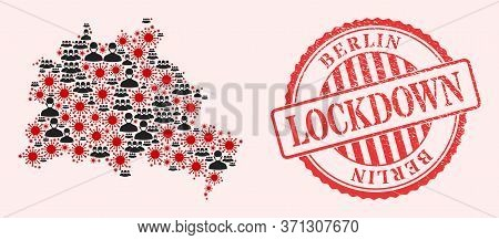 Vector Mosaic Berlin City Map Of Flu Virus, Masked Men And Red Grunge Lockdown Seal Stamp. Virus Cel