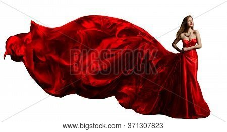 Woman Red Dress Flying On Wind, Beautiful Fashion Model In Fluttering Silk Gown Over White Backgroun