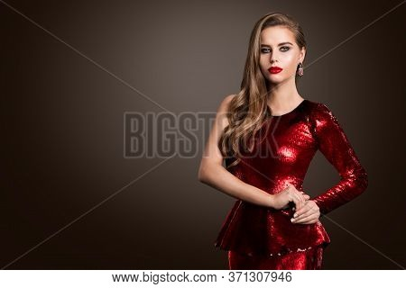 Beautiful Fashion Model, Elegant Woman In Red Sparkling Shiny Dress, Make Up Hairstyle