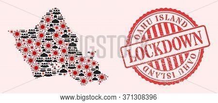 Vector Collage Oahu Island Map Of Sars Virus, Masked Men And Red Grunge Lockdown Seal Stamp. Virus I