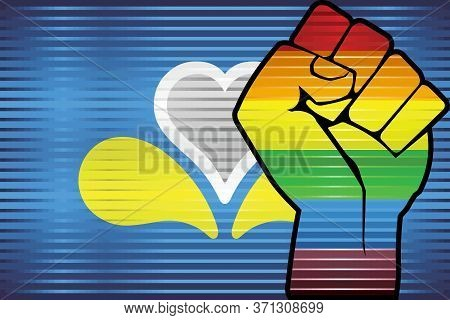 Shiny Lgbt Protest Fist On A Brussels Flag - Illustration,  Three Dimensional Flag Of The Brussels-c