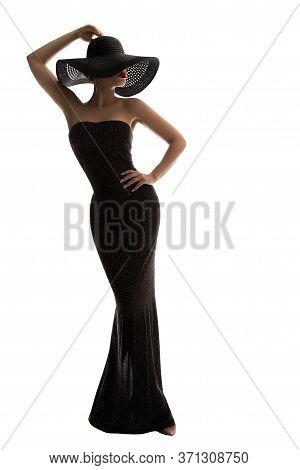 Fashion Model Long Dress Summer Hat, Elegant Woman In Black Gown, Lady Full Length On White Backgrou