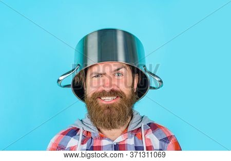 Man With Pan On Head. Crazy Bearded Chef. Happy Man Chef With Pot. Saucepan. Cooking. Kitchenware. C