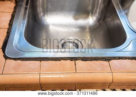 Mildew Mold Developed On Kitchen Sink Silicon Seal