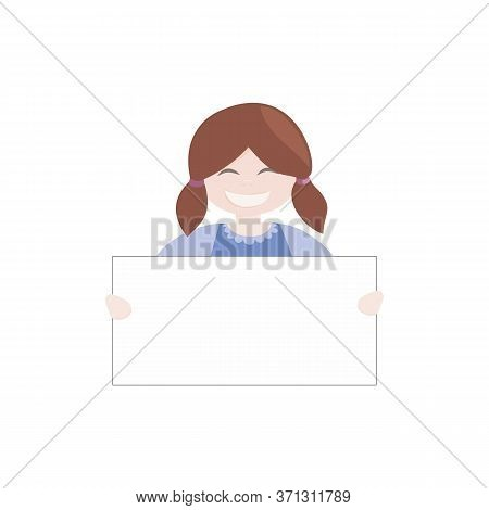 Brown Hair Girl Holding White Empty Banner. Brunette Kid Hostess Smiling And Showing Big Empty Page