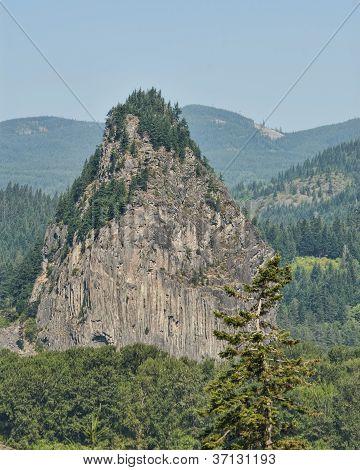 Beacon Rock In Columbia River Gorge