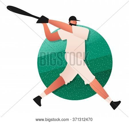 A Baseball Player With A Bat Prepares To Attack. Sports Game With Ball And Bat. Vector Illustration