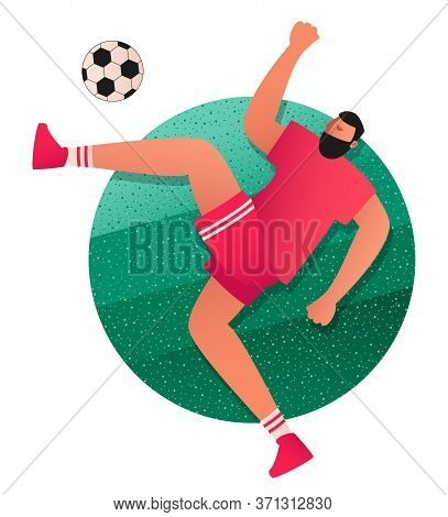 The Player Jumps And Kicks The Ball. Attacking Player Of The Football Team In Equipment. Vector Illu