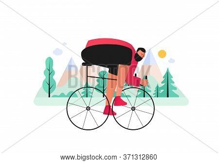 A Bicyclist-biker Overcomes Cross Country In A Mountainous Area. Cross-country Mountain Biking. Vect