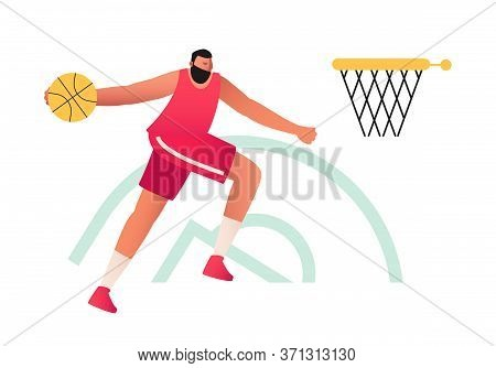 An Athletic Male Basketball Player In A T-shirt And Shorts Throws The Ball Up. Basketball. Olympic S