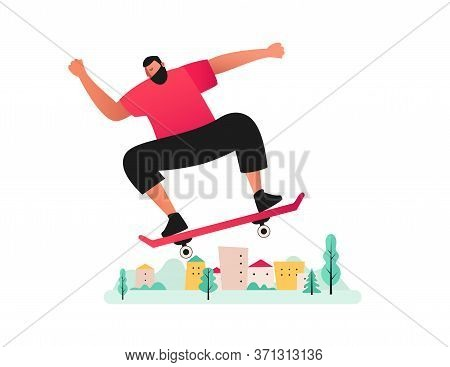 A Sporty Man Rides A Skateboard.  Summer Activities In The Fresh Air. Skateboarding. Vector Flat Ill