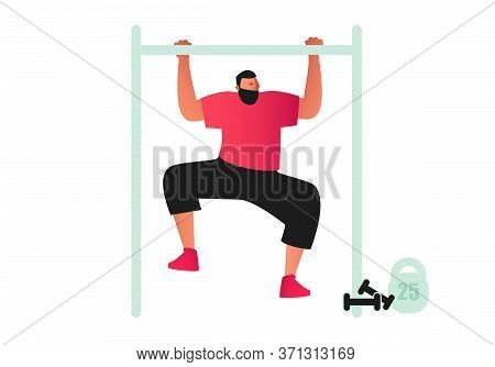 An Athletic Male Athlete Does Pull-ups On The Crossbar. Dressed In A T-shirt And Shorts. Vector Illu
