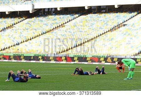 Kyiv, Ukraine - June 6, 2020: Desna Chernihiv Players Lie On A Pitch After Lost In Ukrainian Premier
