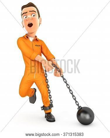 3d Prisoner Trying To Lift Ball And Chain, Illustration With Isolated White Background