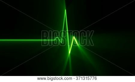 Heart Beat Green Light Line Ekg Monitor