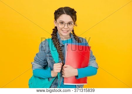 Library Makes You Visionary. Library Reader Yellow Background. Happy Girl Hold Library Books. Smart