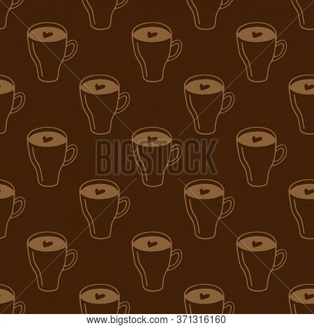 Large Mug Of Coffee Or Cocoa Hand-drawn. Vector Seamless Doodle Pattern On Brown Background. Design