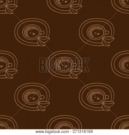 Large Mug Of Coffee Or Cocoa On A Saucer Hand-drawn. Vector Seamless Doodle Pattern On Brown Backgro
