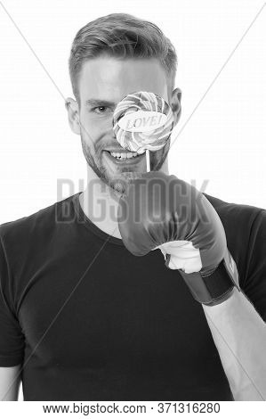 Love Sport. Man Smiling Happy Face Hold Lollipop Boxing Glove. Healthy Food Dieting. Boxer Sweets Ch