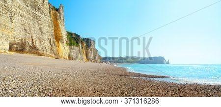 Panoramic Landscape, Cliffs Of Etretat At Low Tide, Normandy, France. Picturesque Rocky Coastline, S