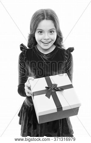 Celebrating Special Day Of Life. Birthday Girl Isolated On White. Happy Child Got Birthday Gift. Bir