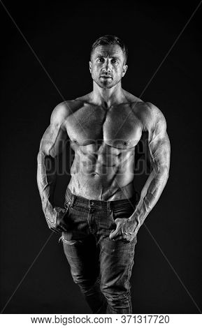 Sex Appeal. Sexy Man Shirtless Black Background. Athletic Guy With Sexy Bare Torso. Wellness And Bod