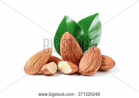 Almonds Nuts With Leaf Isolated On White Background, Almonds Are Very Popular Nuts.