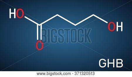 Gamma-hydroxybutyric Acid, Ghb, C4h8o3 Molecule. It Is Neurotransmitter, Liquid Ecstasy, Psychoactiv