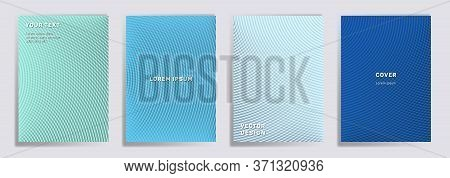 Semicircle Lines Halftone Grid Covers Vector Set. Cool Brochure Title Page Layouts. Banners, Posters