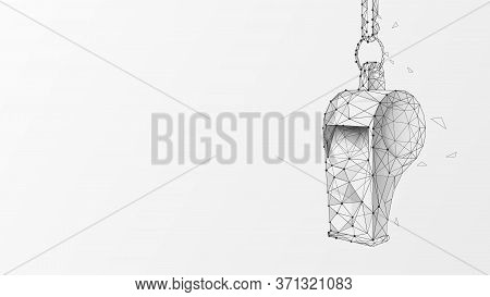Hanging Sports Whistle On White Background. Low Polygonal Design