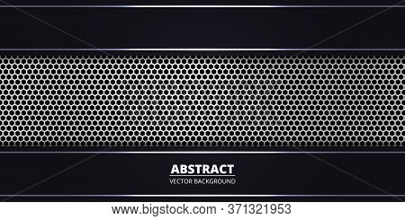 Abstract Background With Silver Hexagon Carbon Fiber. Abstract Background With Silver Luminous Lines