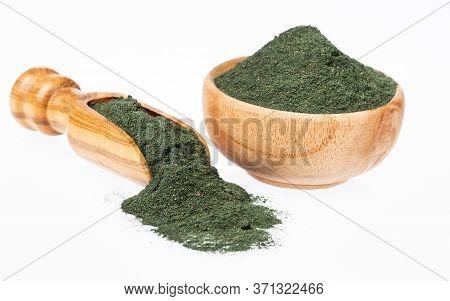 Spirulina Powder Healthy Dietary Supplement - White Background