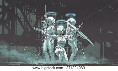 Three Futuristic Female Soldiers With Hi-tech Weapons To Prepare To Fight, Digital Art Style, Illust