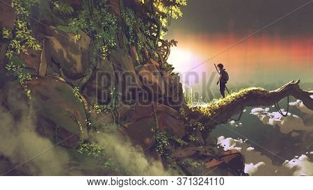 Man Standing On A Giant Branch Looking At Sunset On The Horizon, Digital Art Style, Illustration Pai