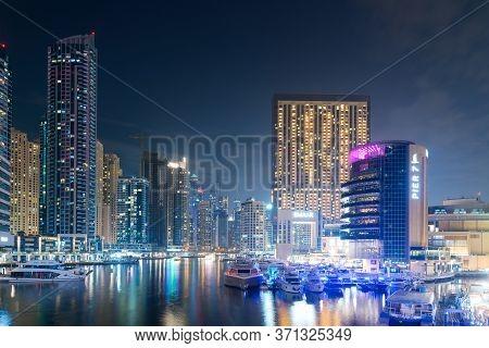 Dubai, Uae - November 17: Modern Buildings In Dubai Marina, Dubai, Uae. In The City Of Artificial Ch