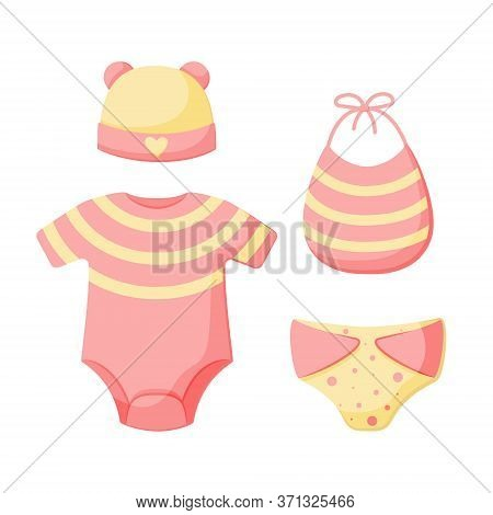 A Set Of Things For A Newborn Isolated On A White Background. Collection For Girls In Pink And Yello