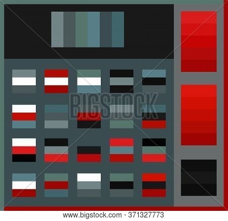 Bright Color Palette Guide Vector Illustration Set. Conceptual Dark Grey, White, Red And Blue Tone V