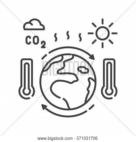 Climate Change Black Line Icon. Environmental Problems. Sign For Web Page, App. Ui Ux Gui Design Ele
