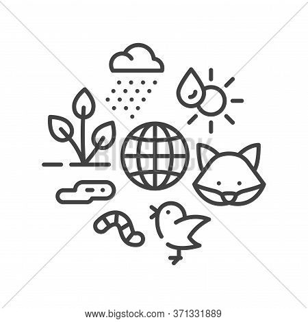 Ecosystem Black Line Icon. Sustainable Biodiversity And Animal Friendly Environment. Sign For Web Pa