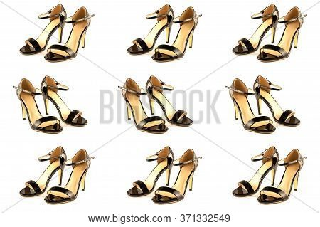 Womens Black Leather Patent High-heeled Sandals, Isolated On A White Backgrouna Set Of Variations Of