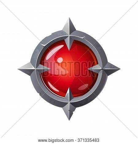 Red Crystal In An Old Metal Frame. Game Magic Crystal. Vector Illustration.