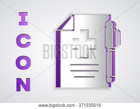 Paper Cut Medical Prescription And Pen Icon Isolated On Grey Background. Rx Form. Recipe Medical. Ph
