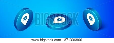 Isometric Location With Car Service Icon Isolated On Blue Background. Auto Mechanic Service. Repair