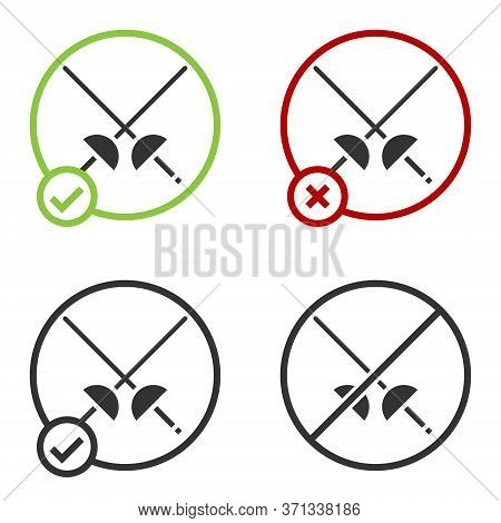 Black Fencing Icon Isolated On White Background. Sport Equipment. Circle Button. Vector Illustration