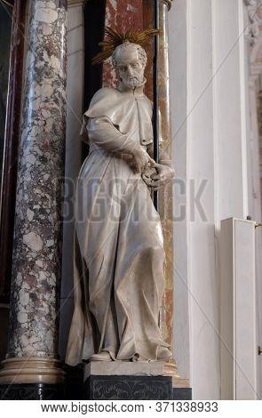 ZAGREB, CROATIA - SEPTEMBER 26, 2018: St. Francis Regis, statue on the altar of St. Ignatius of Loyola in the Church of Saint Catherine of Alexandria in Zagreb, Croatia