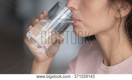 Close Up Profile Thirsty Woman Drinking Pure Mineral Water